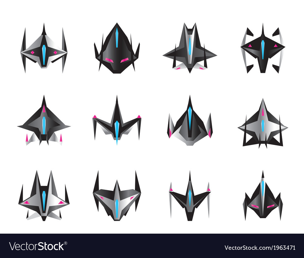 Various spaceships in flight vector | Price: 1 Credit (USD $1)