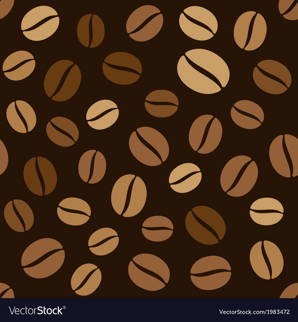 Coffee beans seamless pattern on dark background vector | Price: 1 Credit (USD $1)