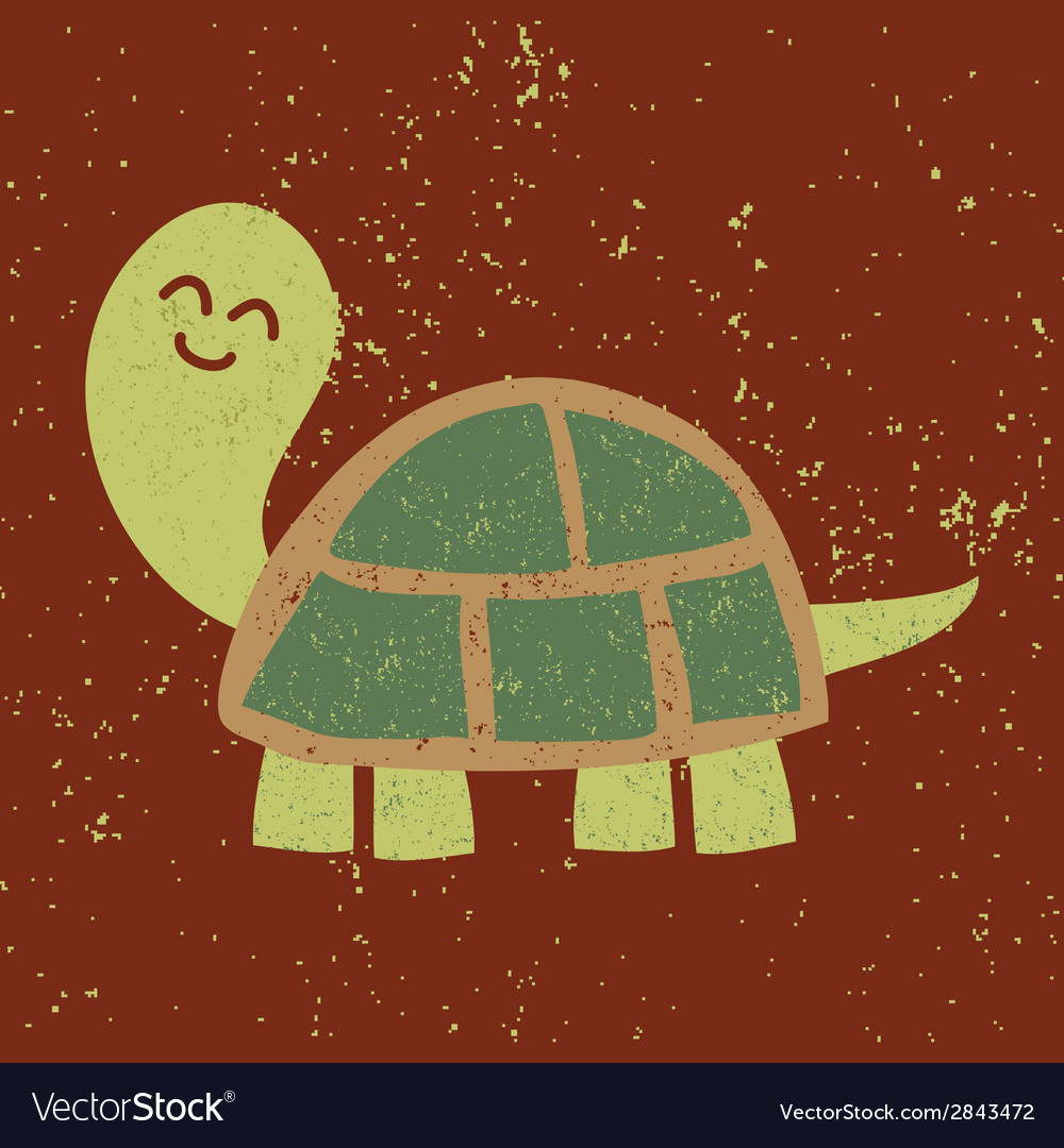 Cute turtle character sponge art effect vector | Price: 1 Credit (USD $1)