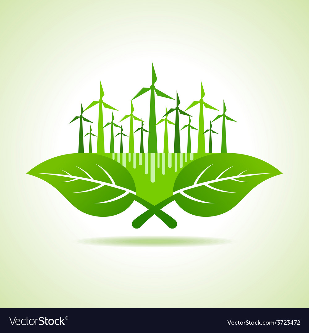 Ecology concept - leaf with wind mill vector | Price: 1 Credit (USD $1)