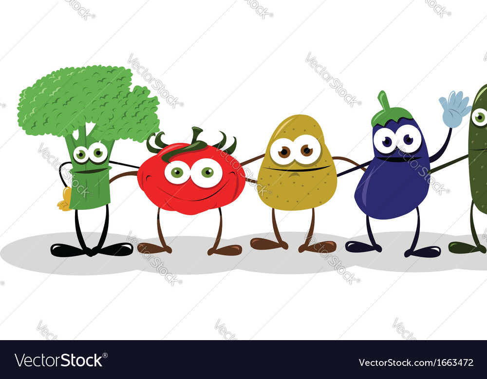 Funny vegetables saying hello vector | Price: 1 Credit (USD $1)
