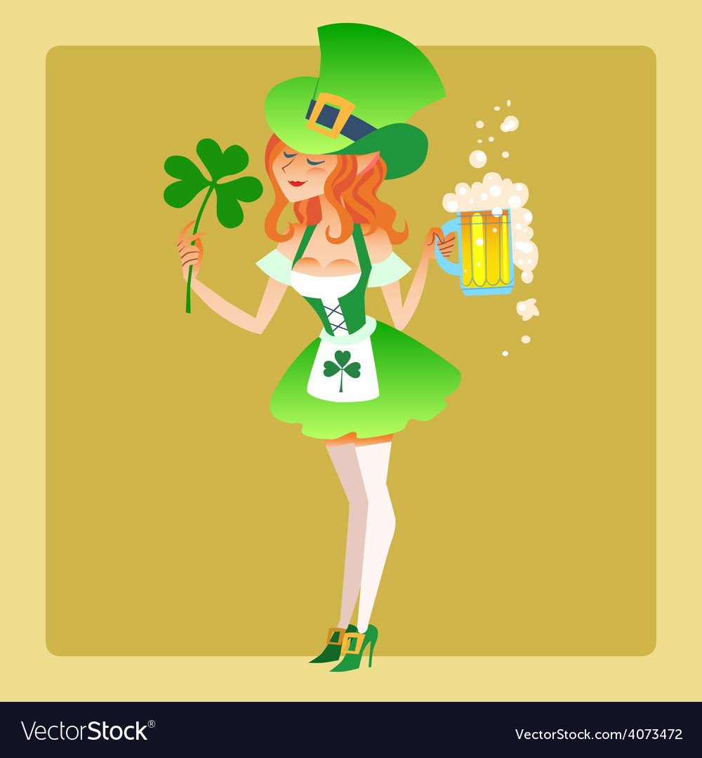 Girl elf green costume st patrick day vector | Price: 1 Credit (USD $1)