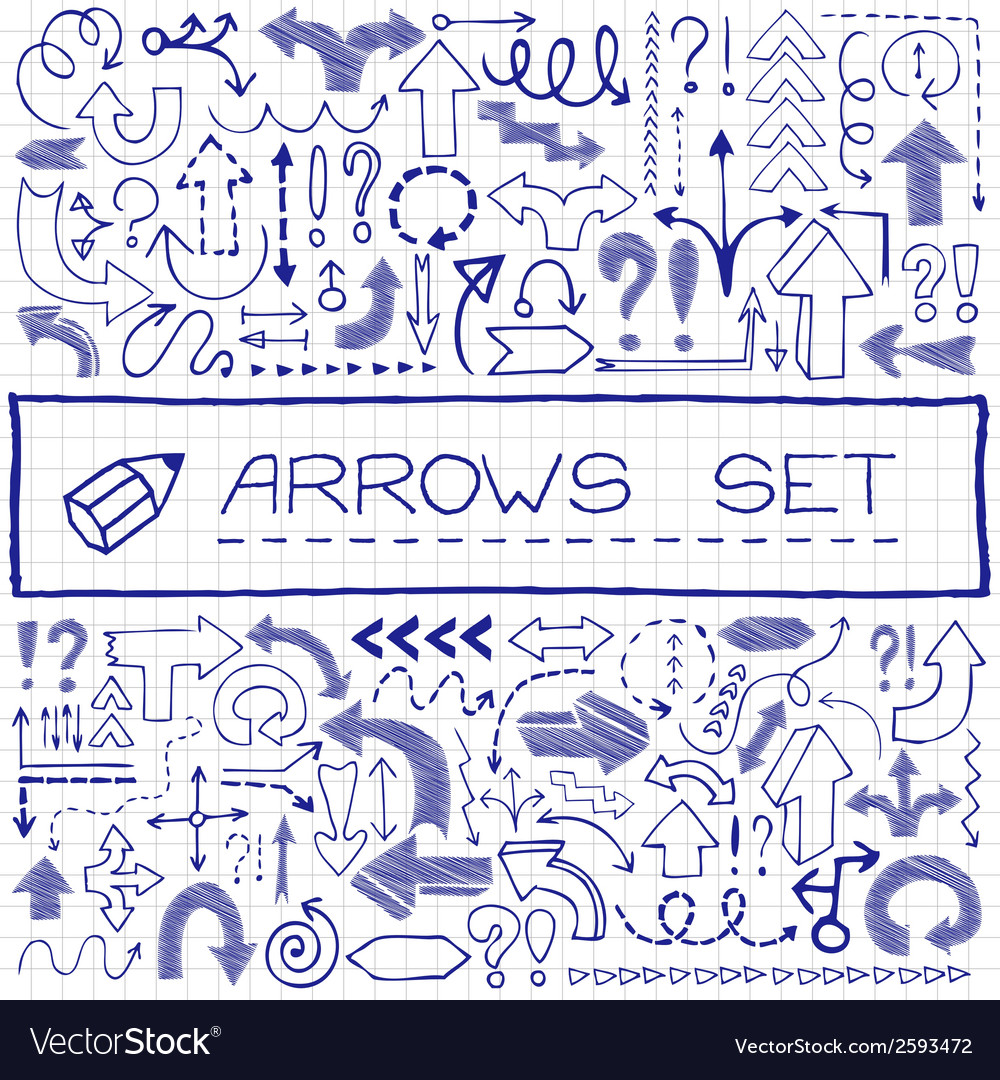 Hand drawn arrow icons with question and vector | Price: 1 Credit (USD $1)