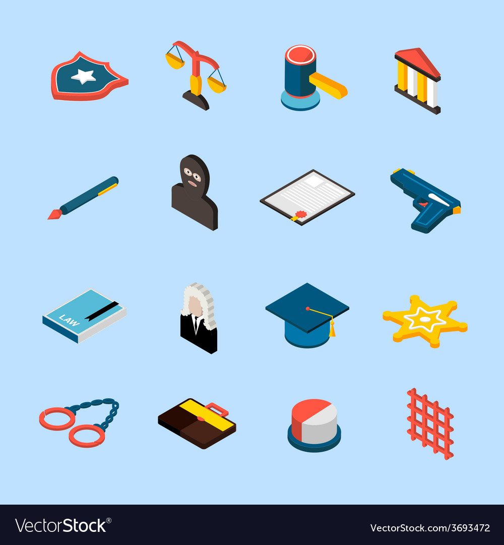 Law icons isometric vector | Price: 1 Credit (USD $1)