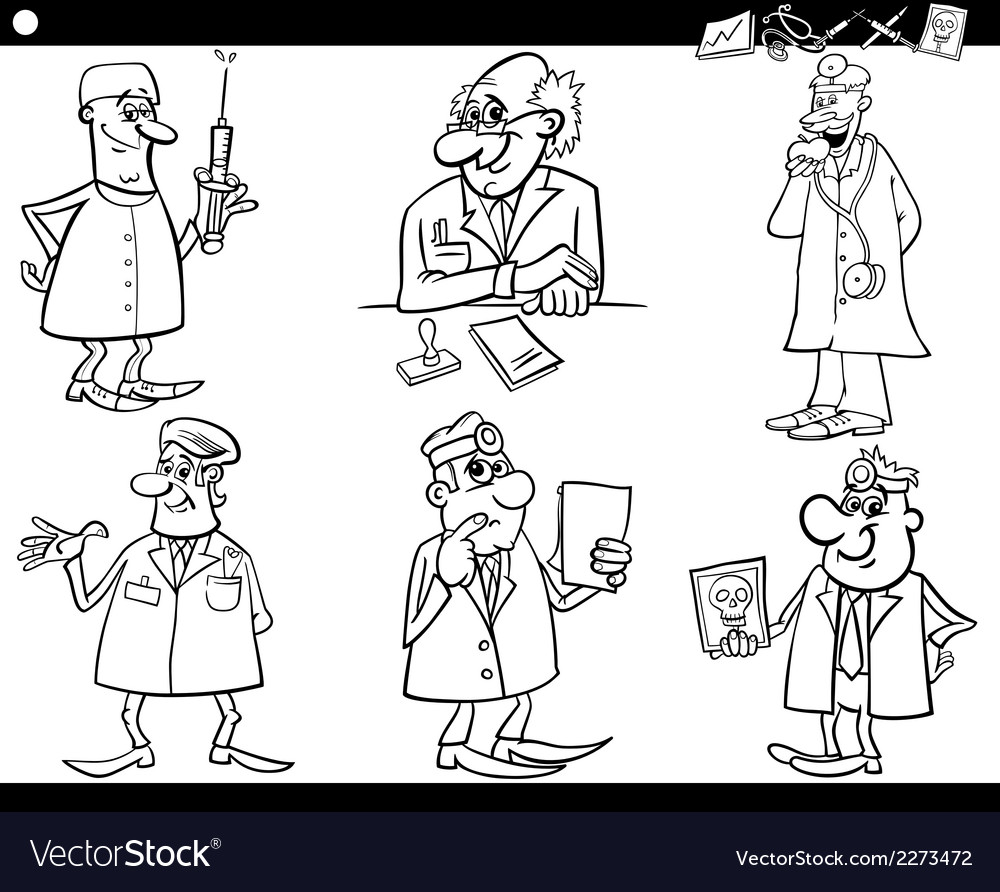 Medical staff set coloring book vector | Price: 1 Credit (USD $1)
