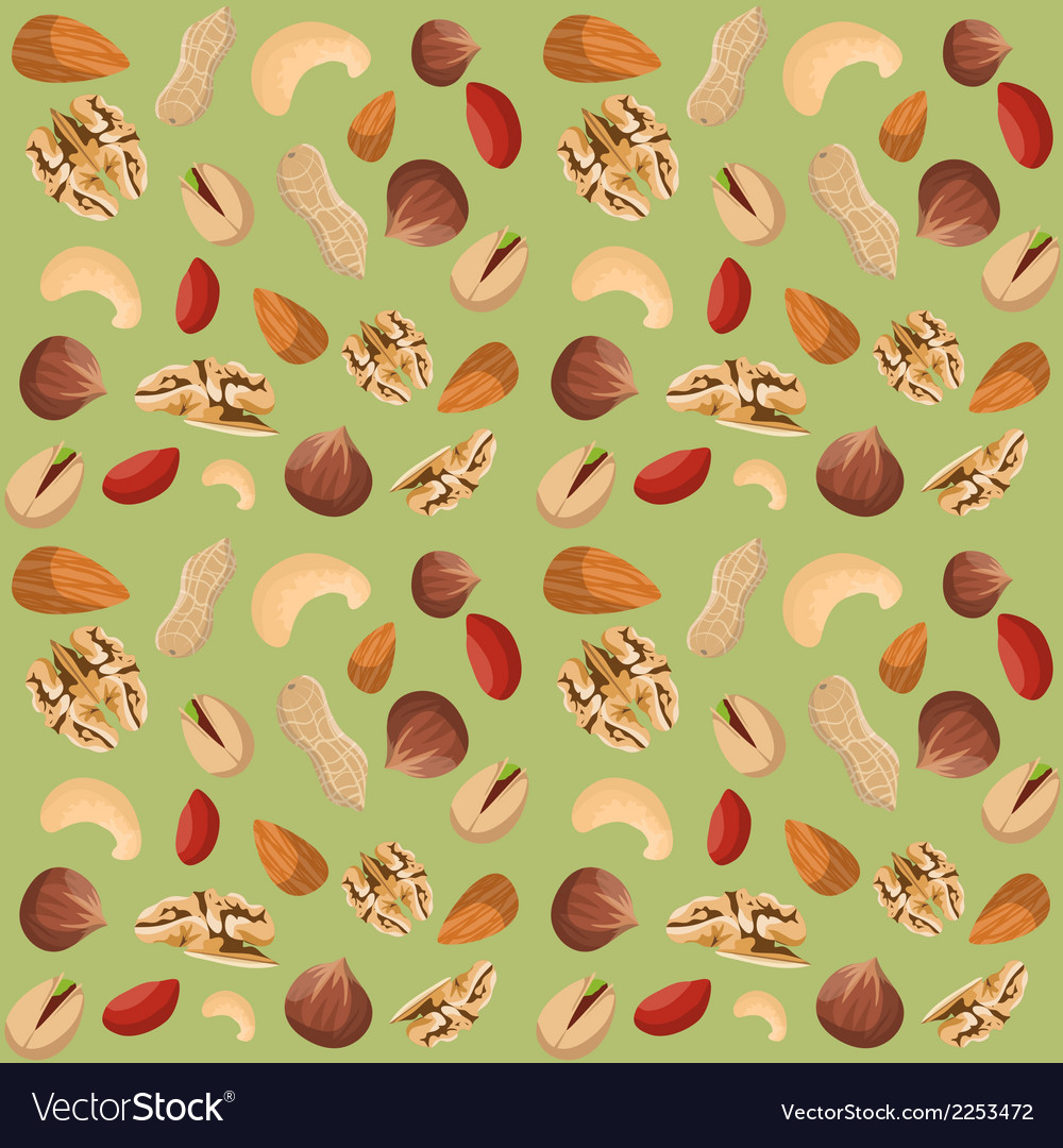 Nut mix seamless pattern vector | Price: 1 Credit (USD $1)