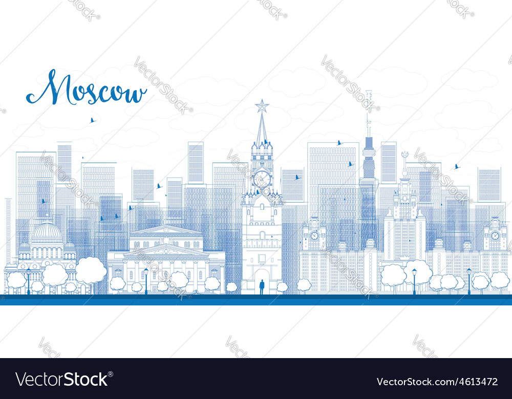 Outline moscow city skyscrapers vector