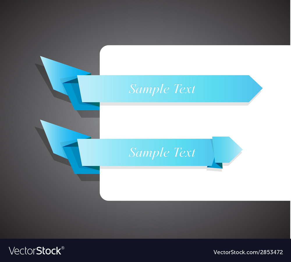 Set of blue origami ribbon for your text vector | Price: 1 Credit (USD $1)