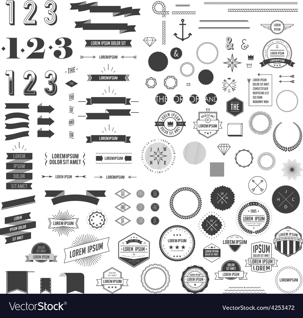 Set of hipster elements vector | Price: 1 Credit (USD $1)