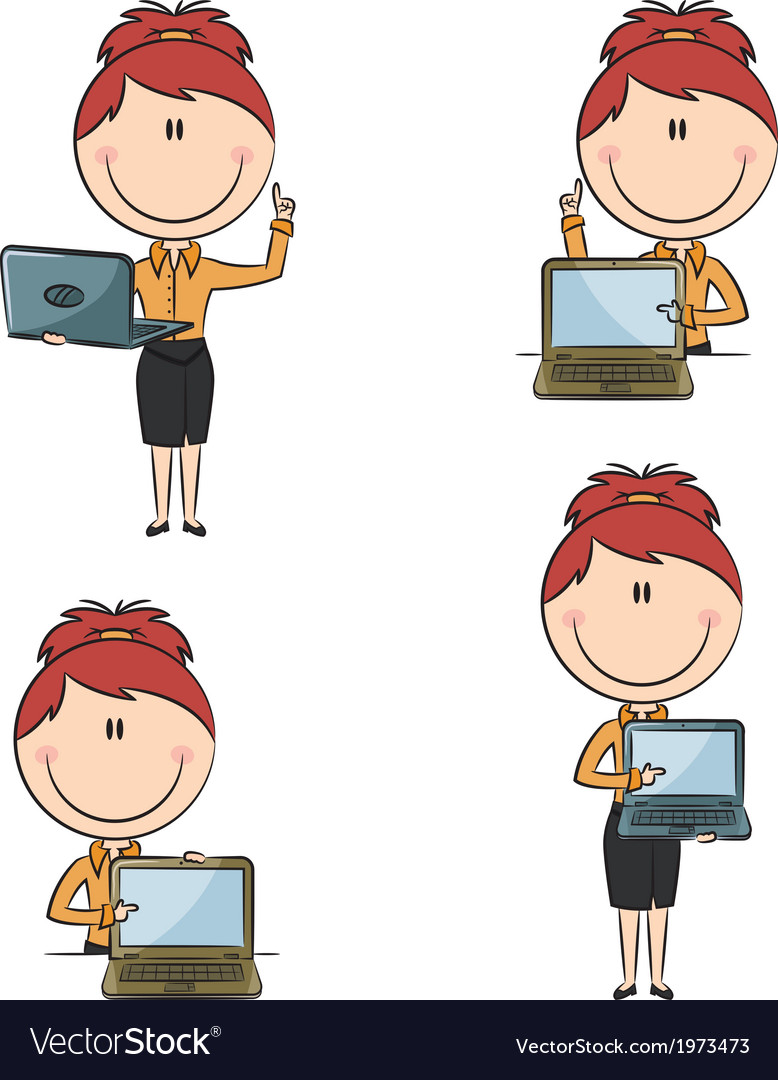 Business ladies with laptop vector   Price: 1 Credit (USD $1)