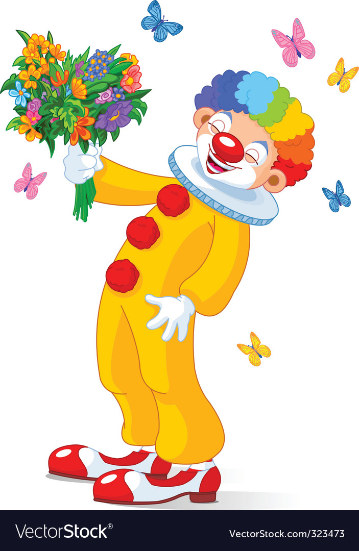 Cute clown with flowers vector