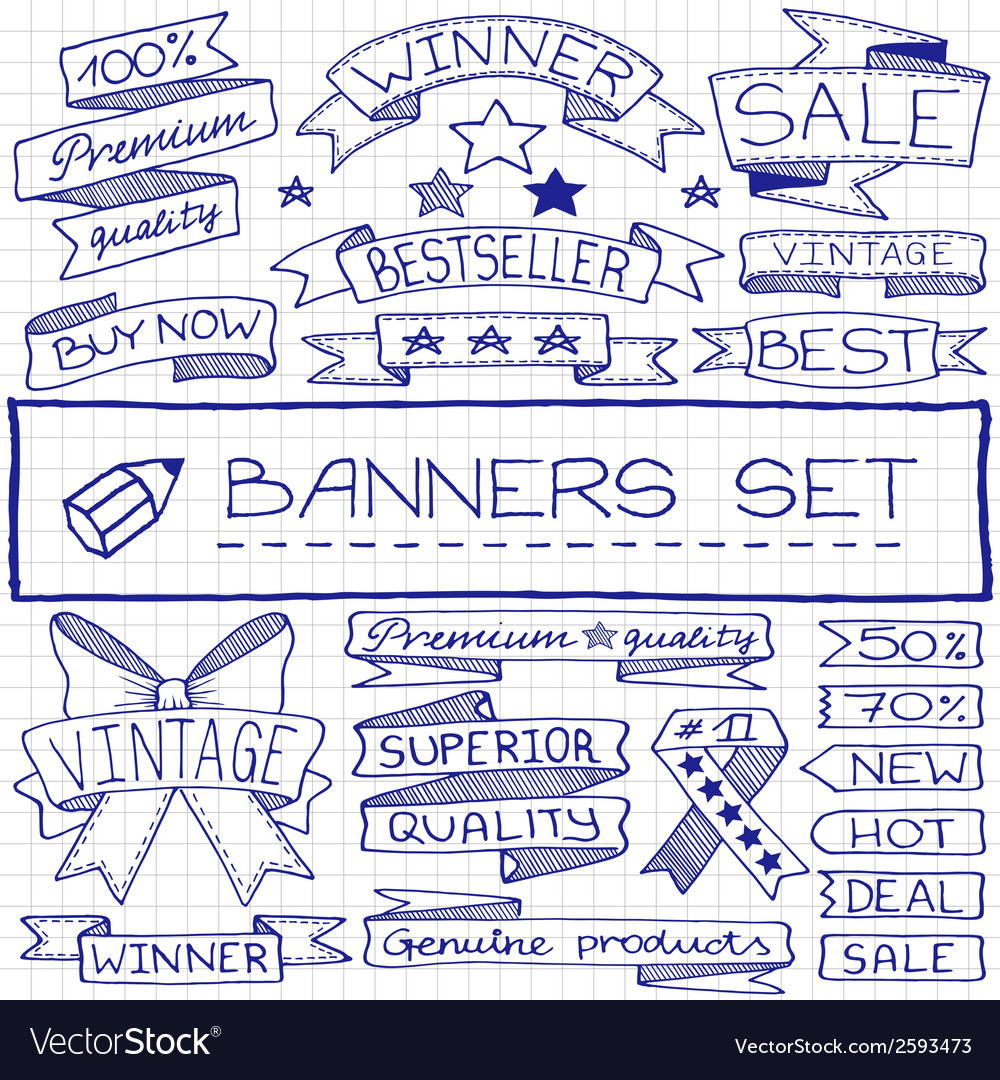 Hand drawn banner and tag icons vector | Price: 1 Credit (USD $1)