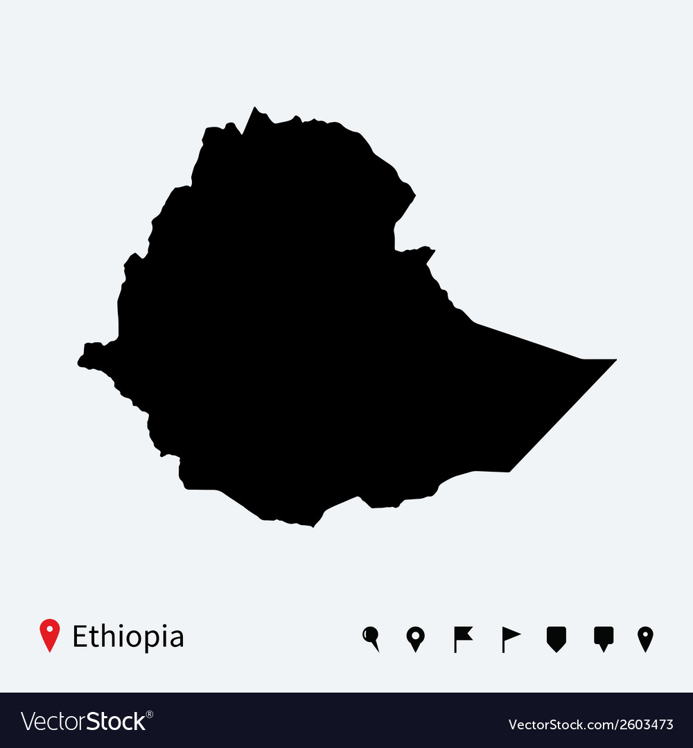 High detailed map of ethiopia with navigation pins vector | Price: 1 Credit (USD $1)