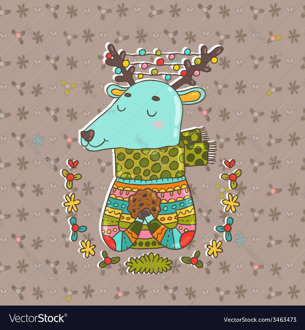 Merry christmas cute cartoon hand drawn deer vector | Price: 1 Credit (USD $1)