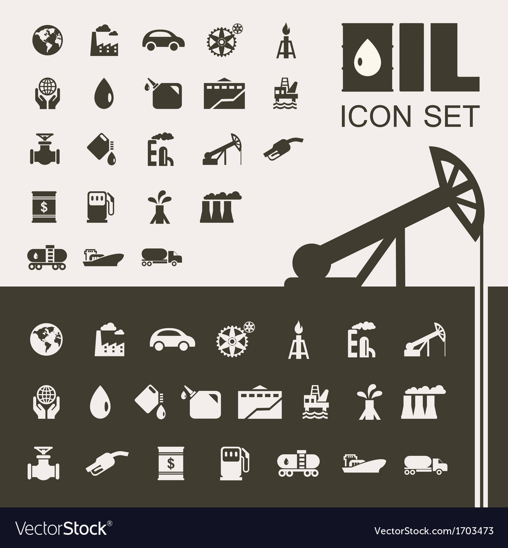 Oil industry flat icon set vector | Price: 1 Credit (USD $1)