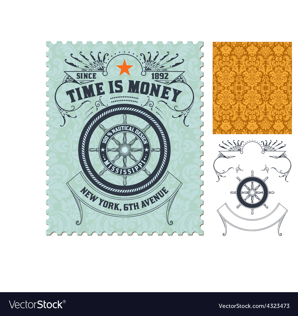 Retro stamp design vector | Price: 1 Credit (USD $1)