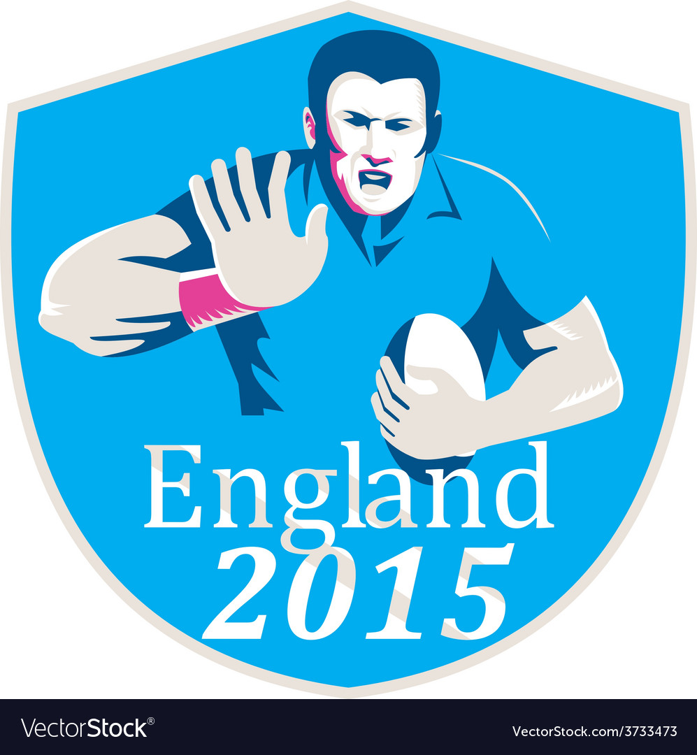 Rugby player fending england 2015 shield vector | Price: 1 Credit (USD $1)