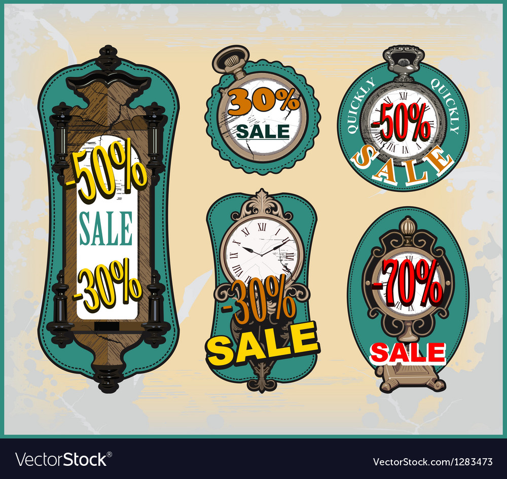 Set of different clock for sale vector   Price: 3 Credit (USD $3)