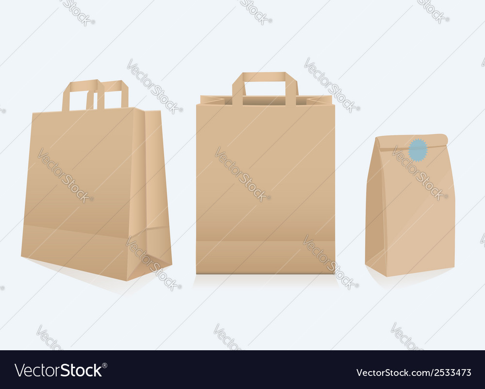 Set of three different paper bags vector