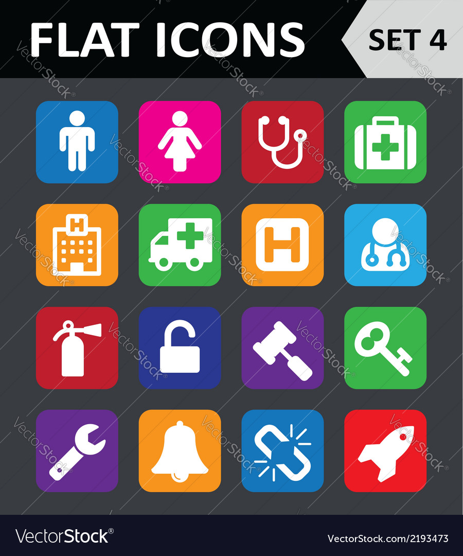 Universal colorful flat icons set 4 vector | Price: 1 Credit (USD $1)