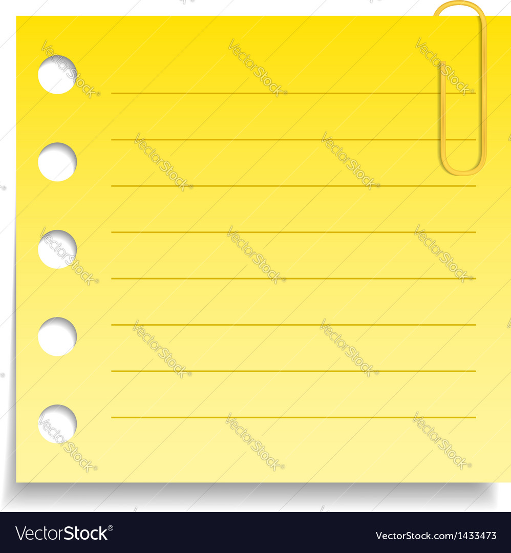 Yellow paper note with clip vector | Price: 1 Credit (USD $1)