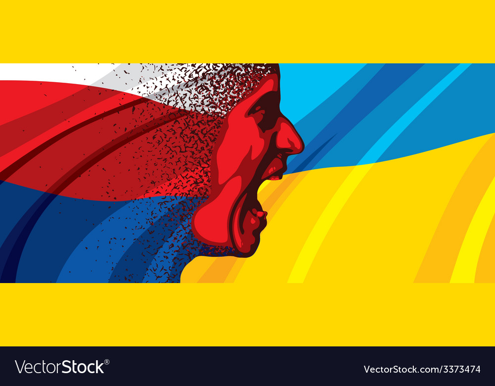 Angry face of russia to ukraine vector | Price: 3 Credit (USD $3)