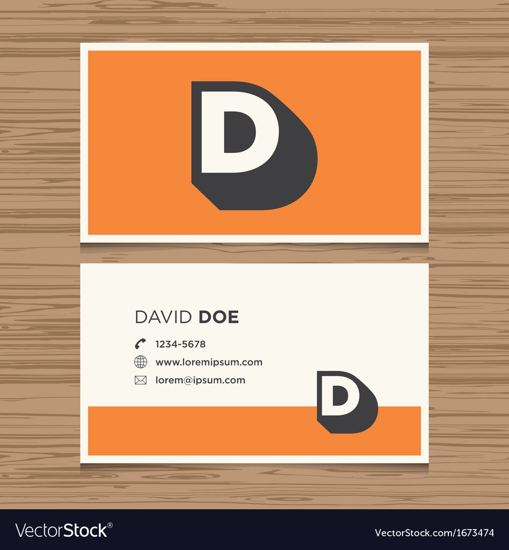 Business card letter d vector | Price: 1 Credit (USD $1)