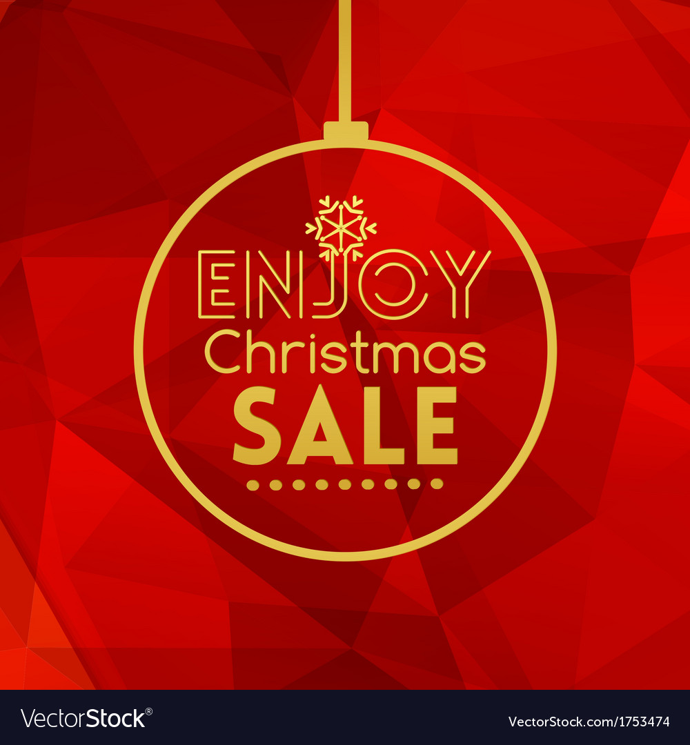 Christmas sale ball card abstract red background vector   Price: 1 Credit (USD $1)