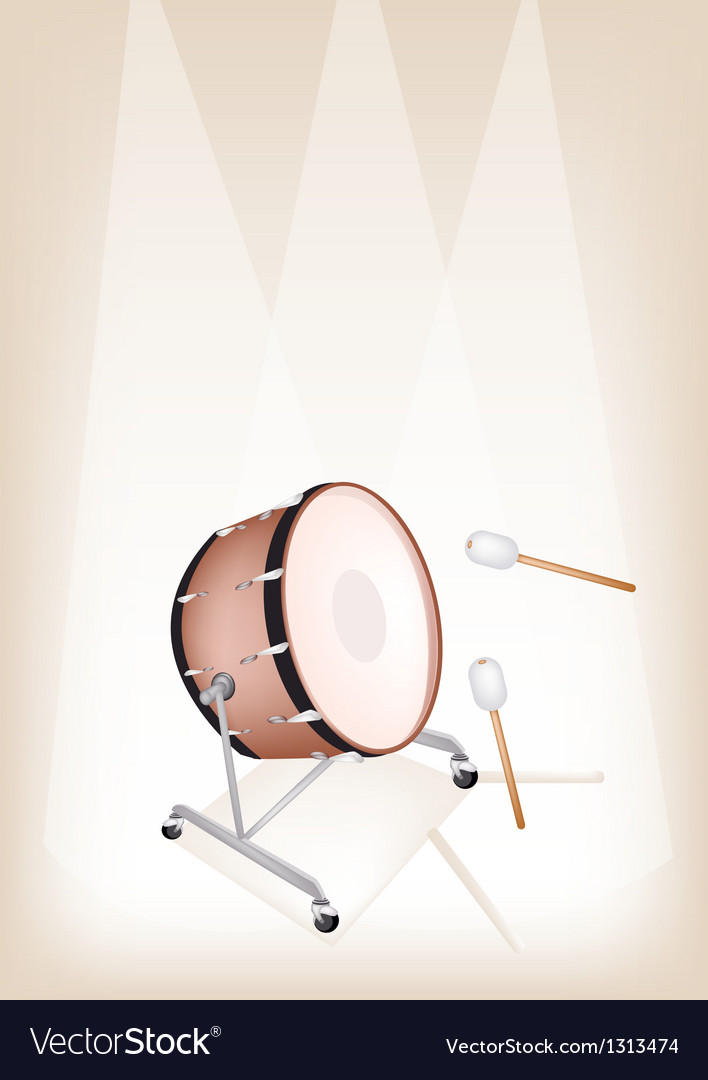 Classical bass drum on brown stage background vector | Price: 1 Credit (USD $1)