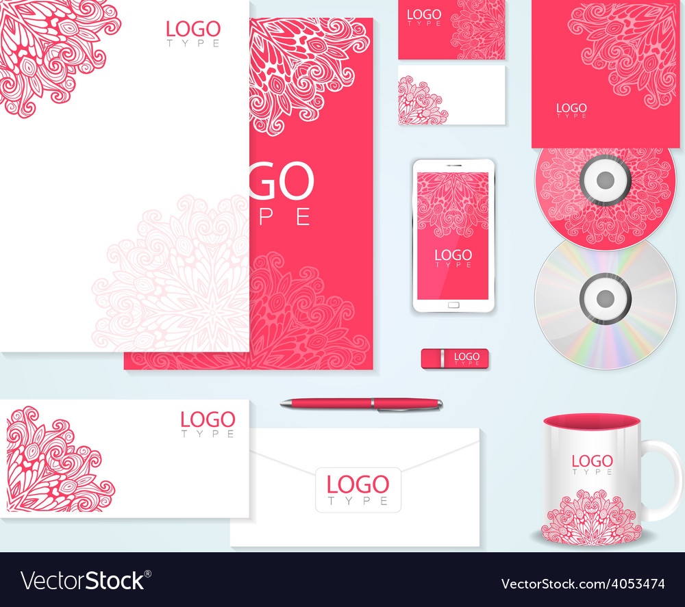 Corporate identity template with floral ornament vector | Price: 1 Credit (USD $1)