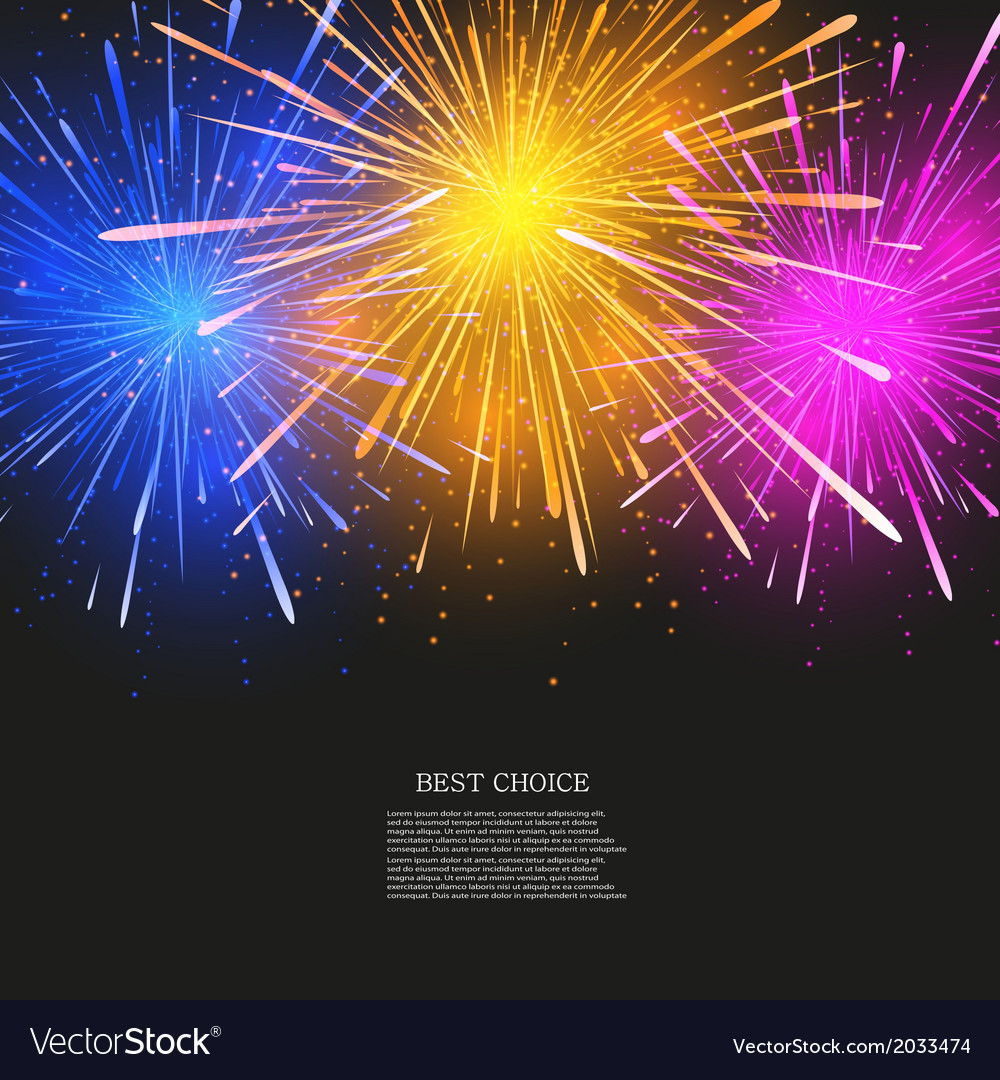 Creative fireworks modern background vector