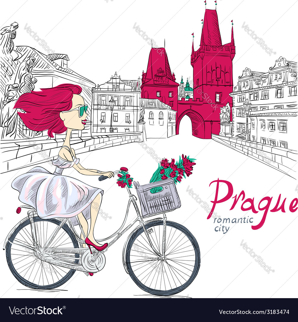 Fashion girl in white dress on bike in prague vector | Price: 1 Credit (USD $1)