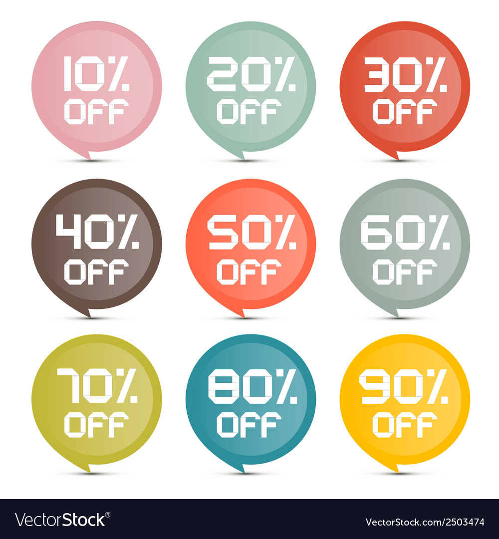 Flat design discount colorful stickers - labels vector | Price: 1 Credit (USD $1)
