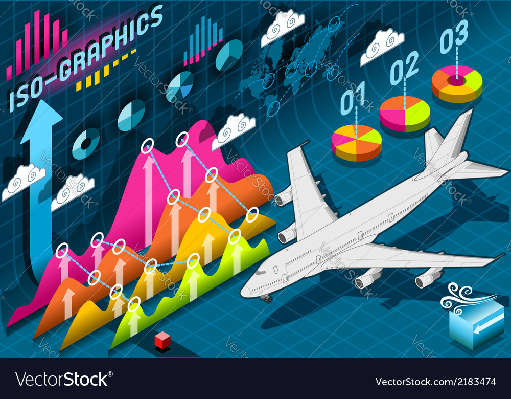 Isometric infographic set elements with airplane vector | Price: 1 Credit (USD $1)