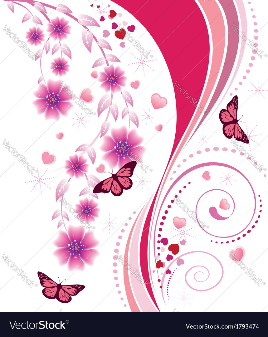 Pink floral ornament vector | Price: 1 Credit (USD $1)