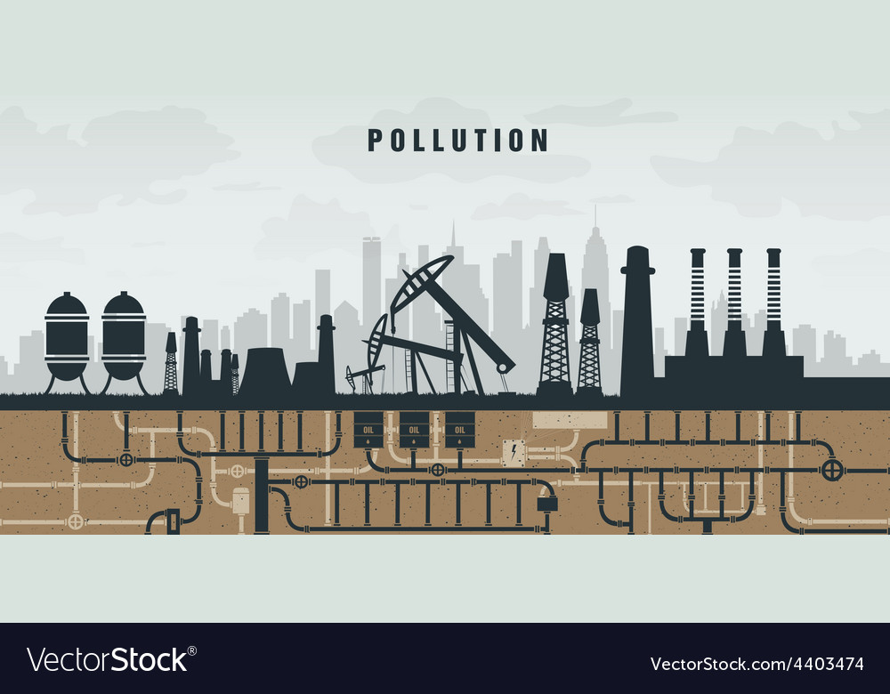 Pollution of the environment by plants oil and vector | Price: 1 Credit (USD $1)