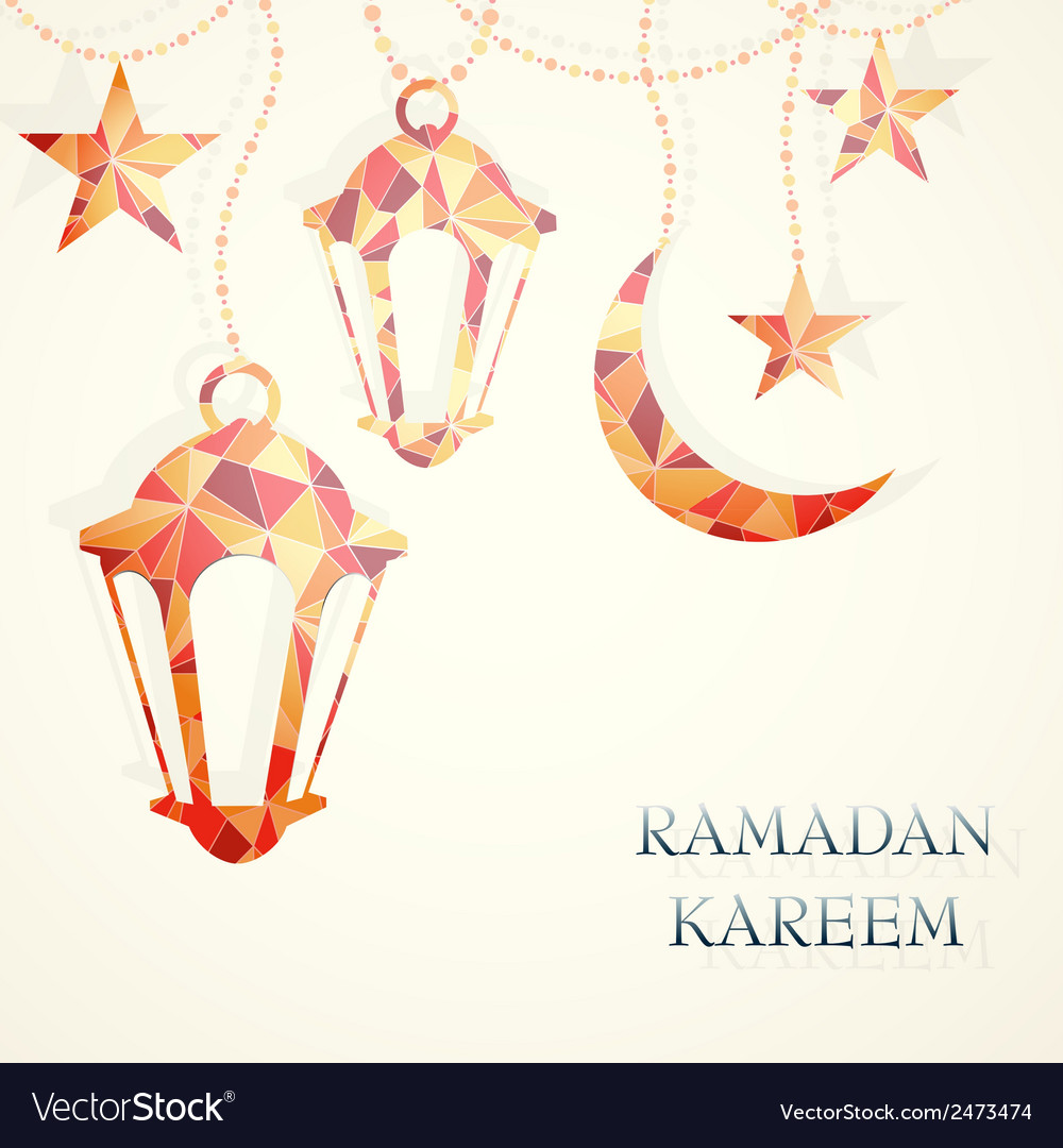 Ramadan greeting card design element vector | Price: 1 Credit (USD $1)