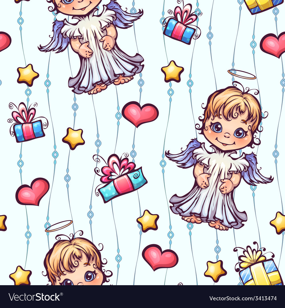 Seamless pattern with cartoon angels and gift vector | Price: 3 Credit (USD $3)