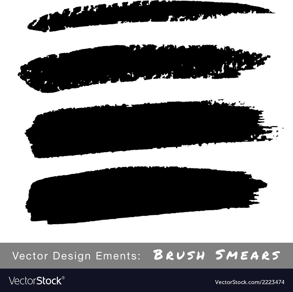 Set of hand drawn grunge brush smears vector   Price: 1 Credit (USD $1)