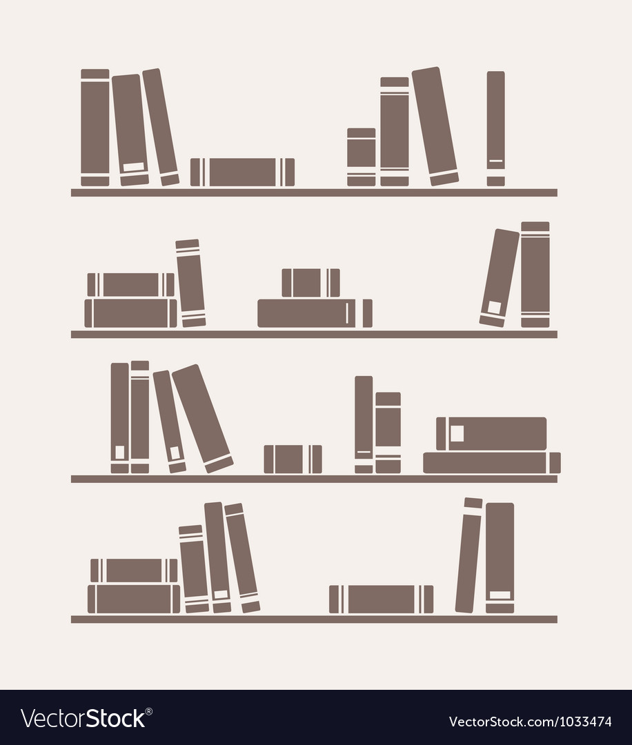 Simply retro books library on the shelf vector | Price: 1 Credit (USD $1)