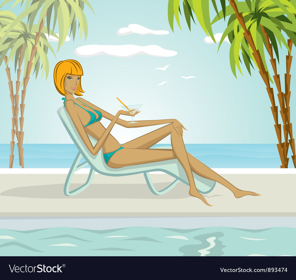 Woman on the beach vector | Price: 3 Credit (USD $3)
