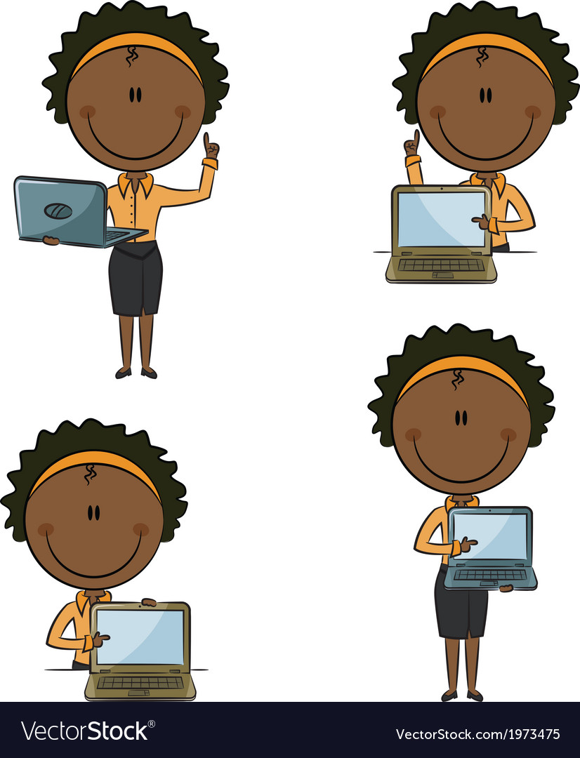 African-american business ladies with laptop vector | Price: 1 Credit (USD $1)