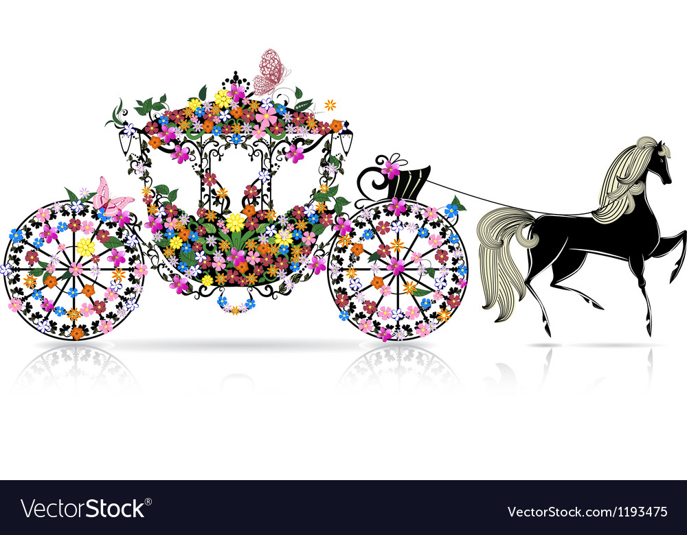 Carriage floral vector | Price: 1 Credit (USD $1)