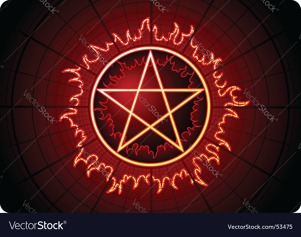 Fire pentagram vector | Price: 1 Credit (USD $1)