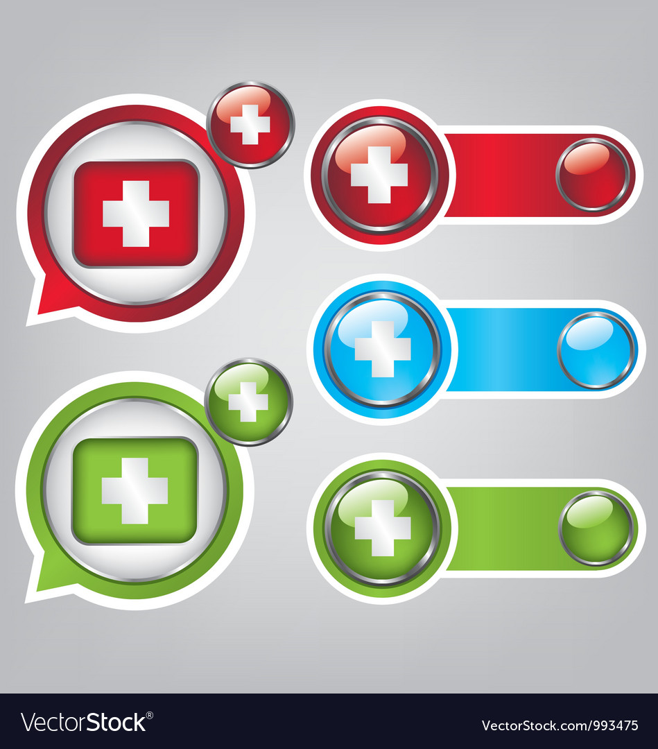 First aid icon buttons vector | Price: 1 Credit (USD $1)