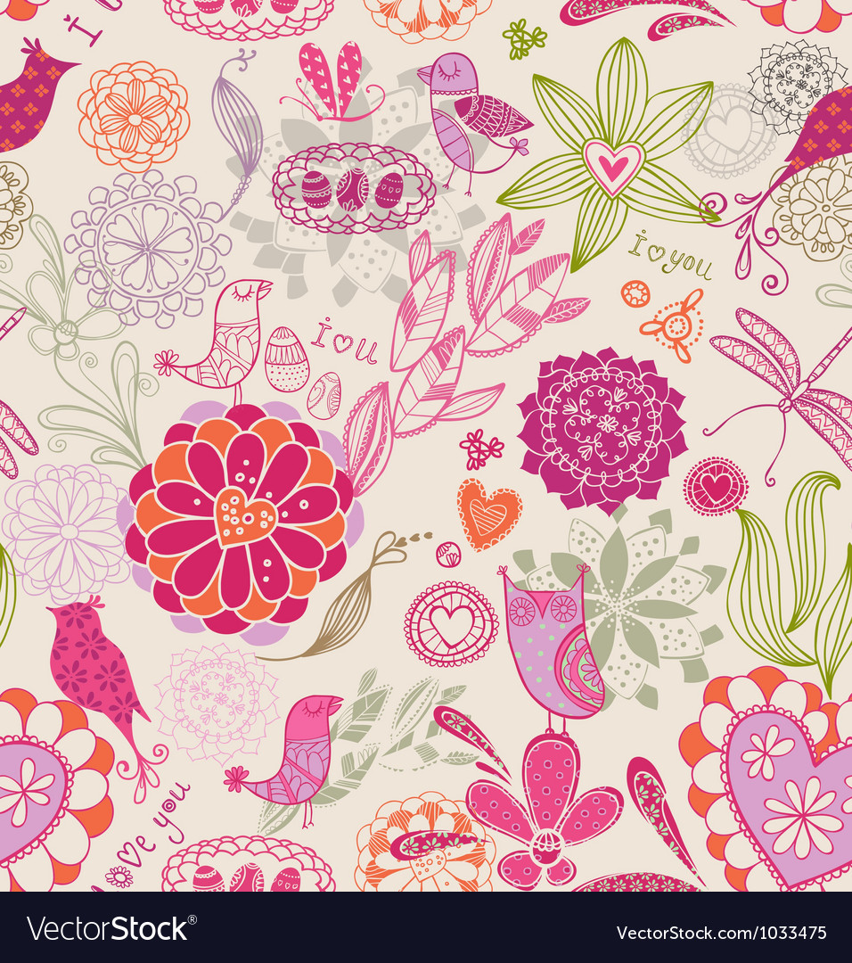 Floral seamless background with birds vector | Price: 1 Credit (USD $1)