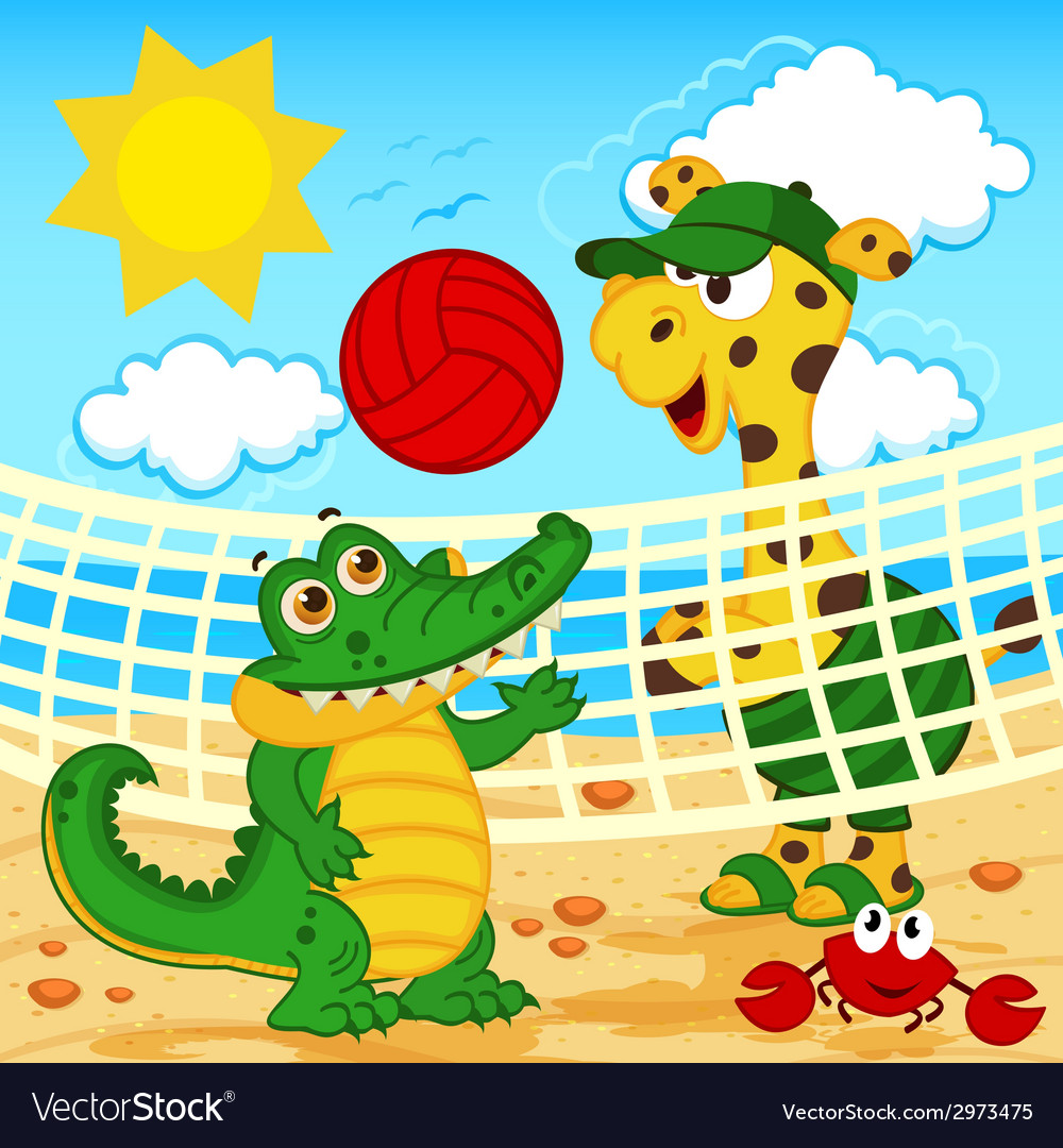 Giraffe crocodile playing in beach volleyball vector | Price: 1 Credit (USD $1)