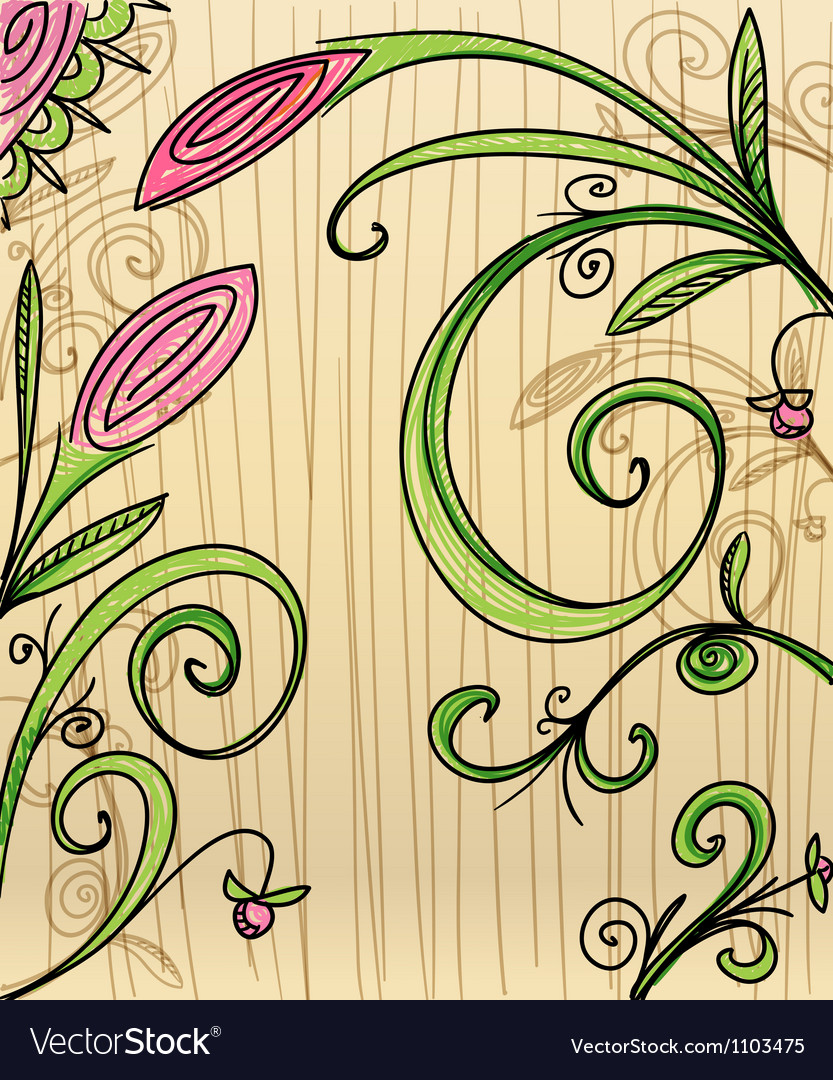 Hand-drawn floral background vector | Price: 1 Credit (USD $1)