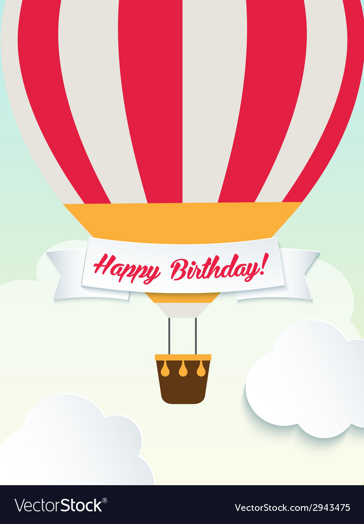 Happy birthday retro vintage balloons greeting vector | Price: 1 Credit (USD $1)