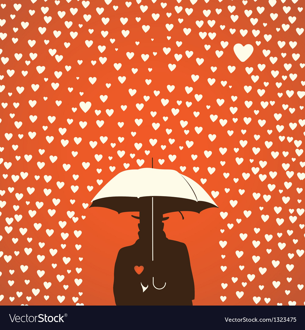 Men under umbrella on hearts shapes rainy vector | Price: 1 Credit (USD $1)